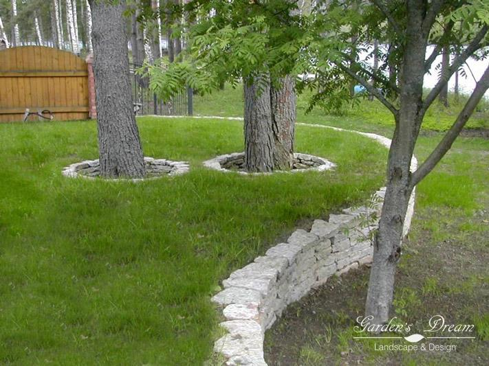 Подпорная стенка в саду